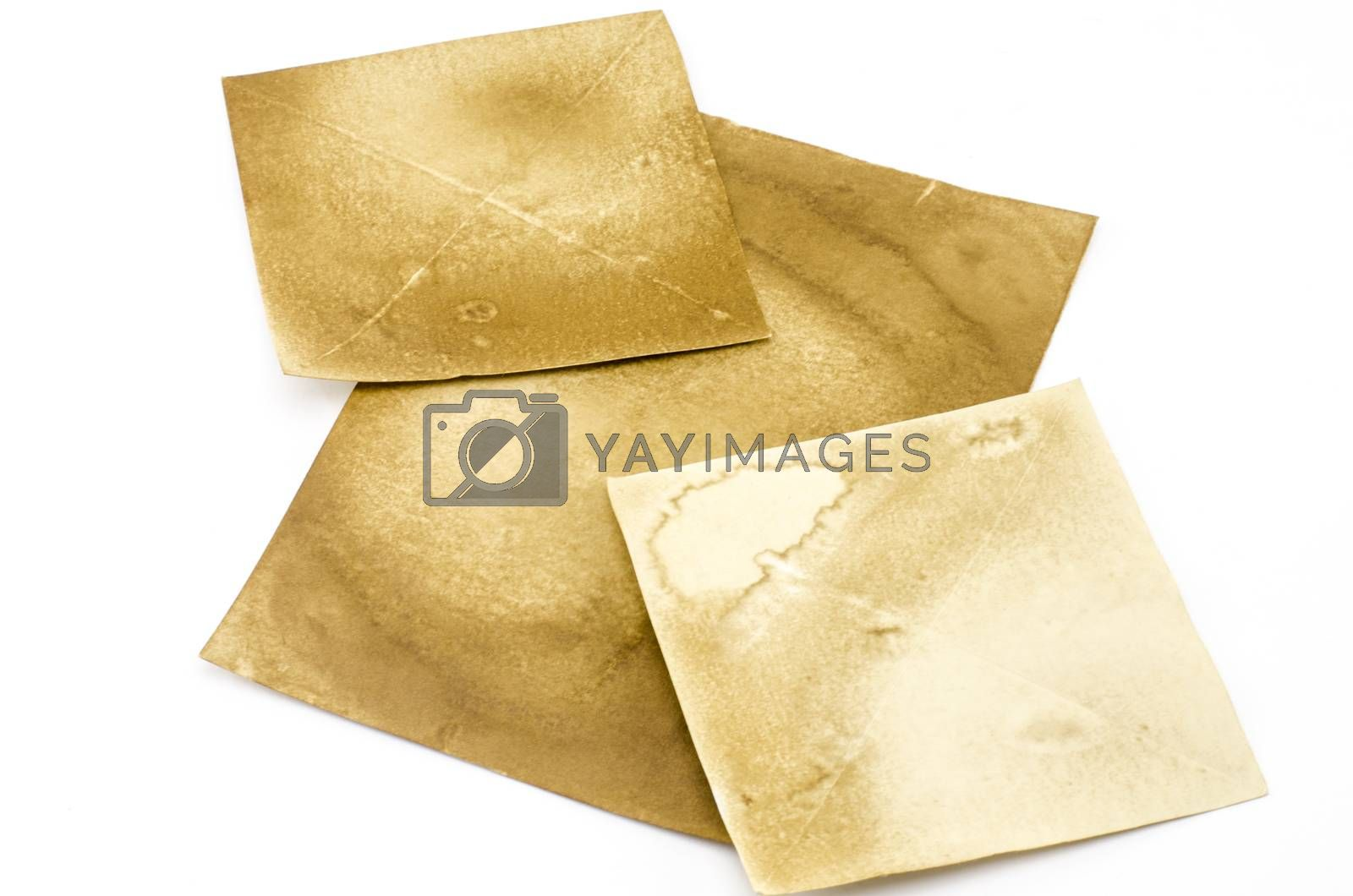 old brown paper isolated on white background