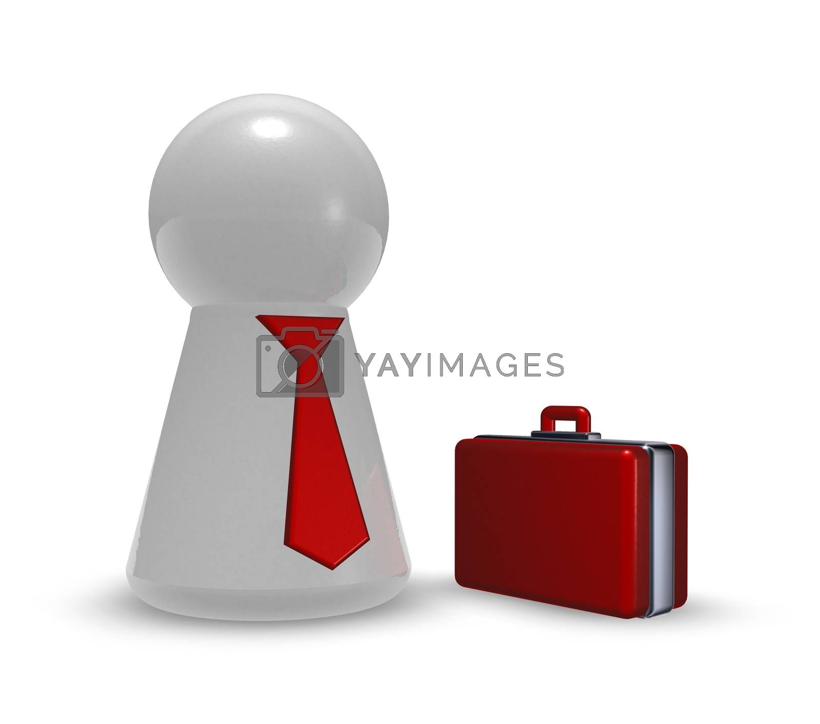 play figure with tie and case - 3d illustration