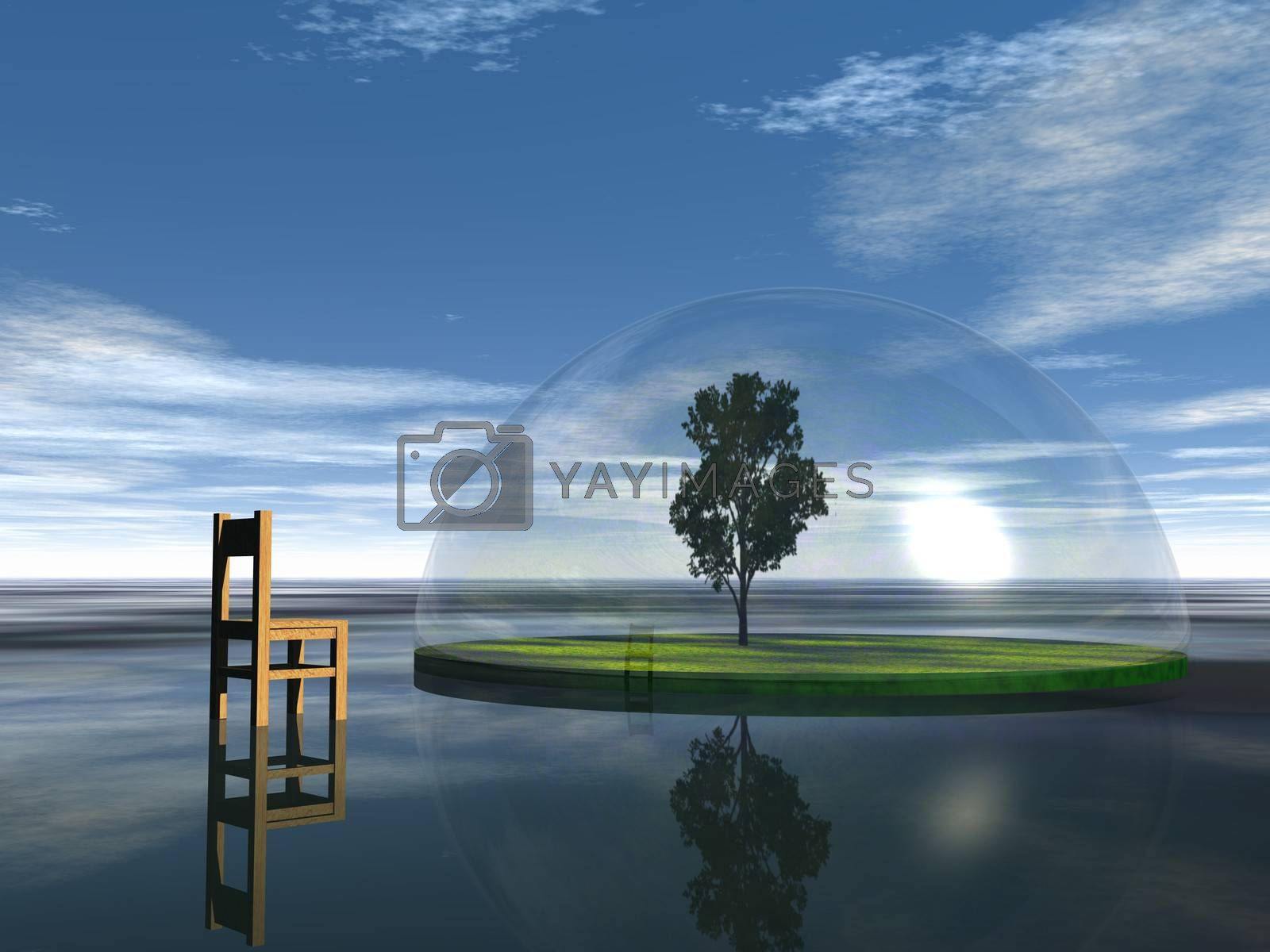 chair and tree under a glass dome - 3d illustration