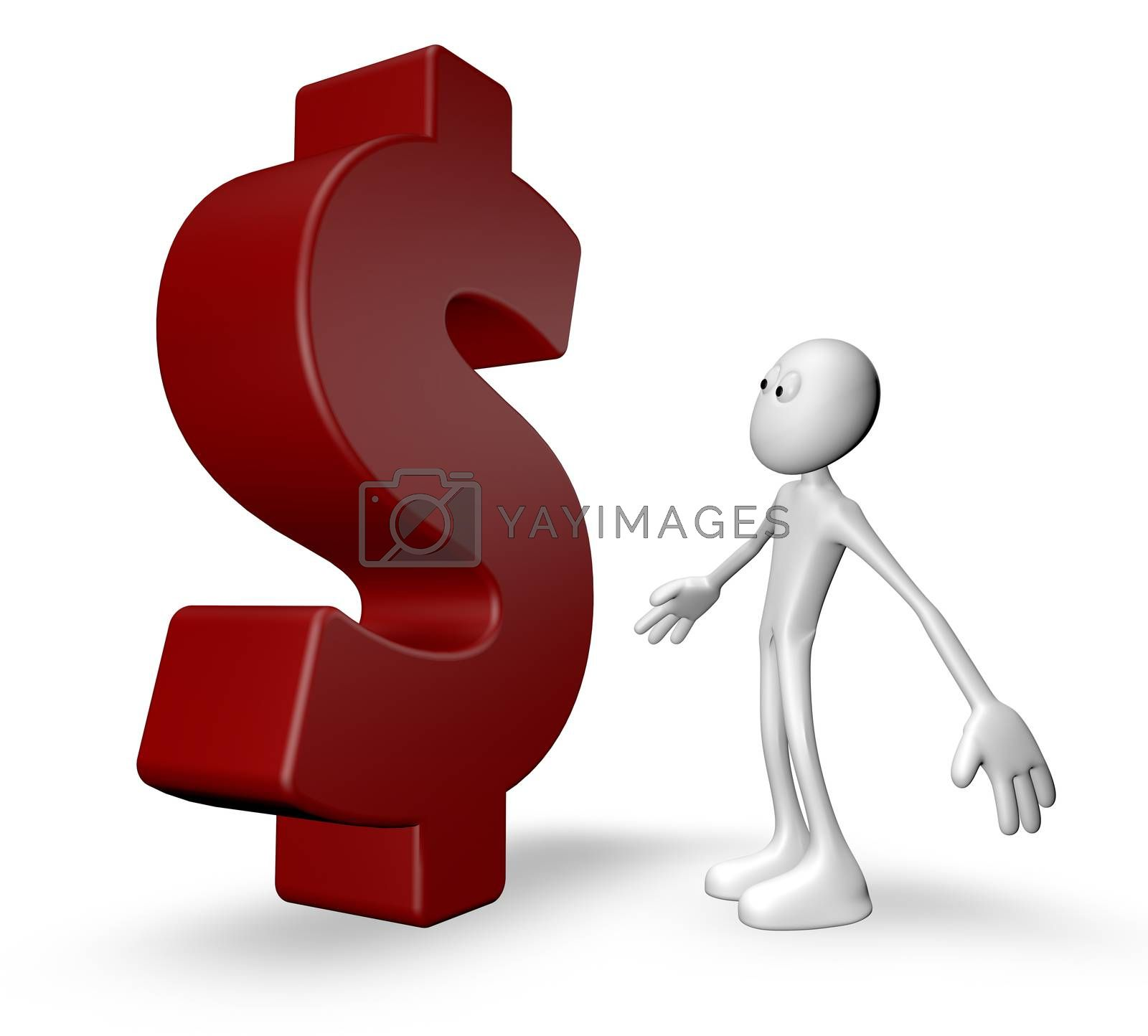 white guy and dollar symbol - 3d illustration
