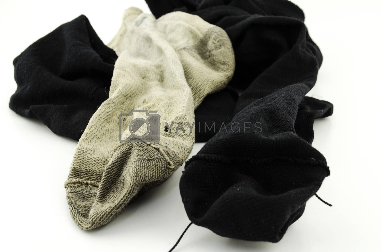 used dirty sock isolated on white background