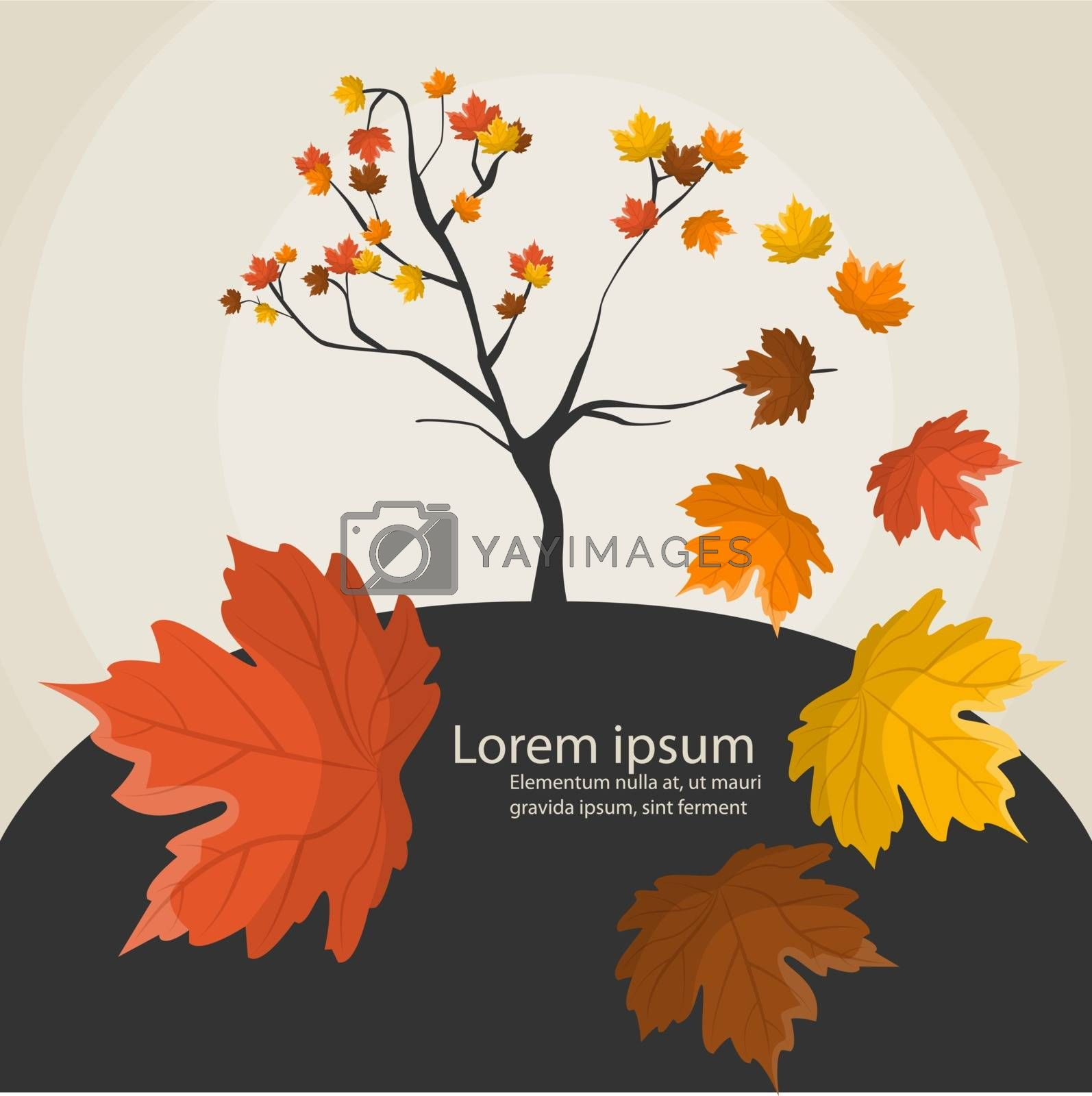 Vector funny illustration with tree and playful leaves
