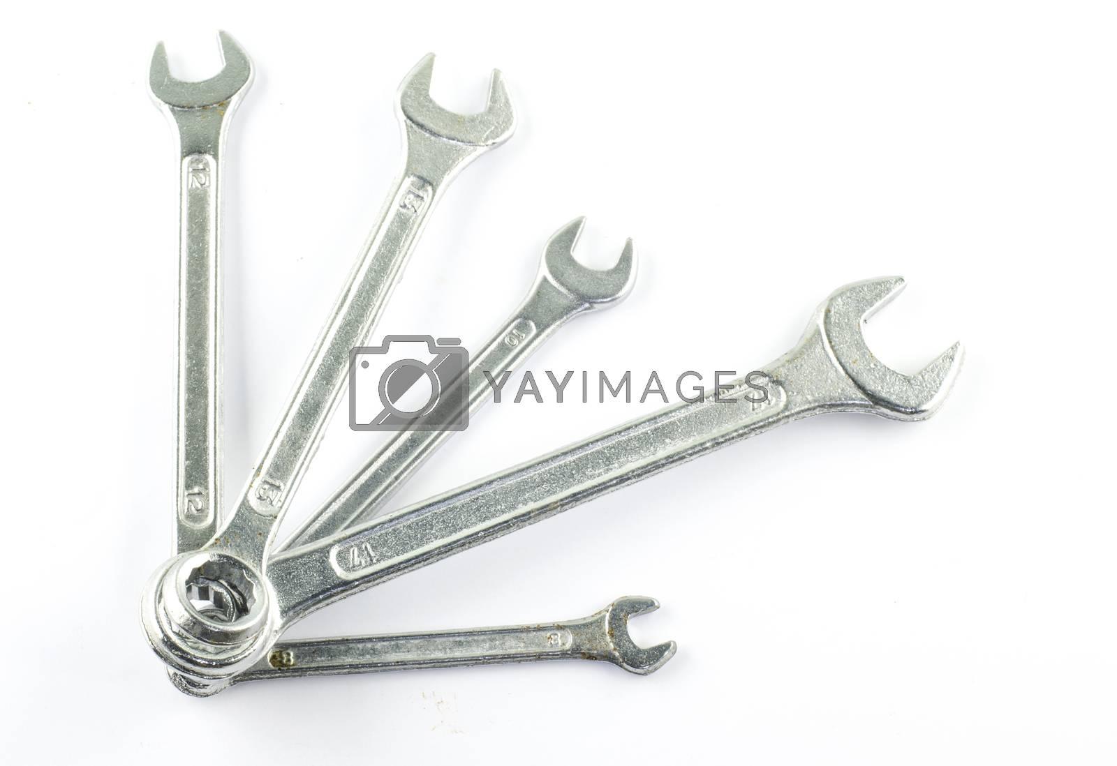 many wrench set isolate on white background