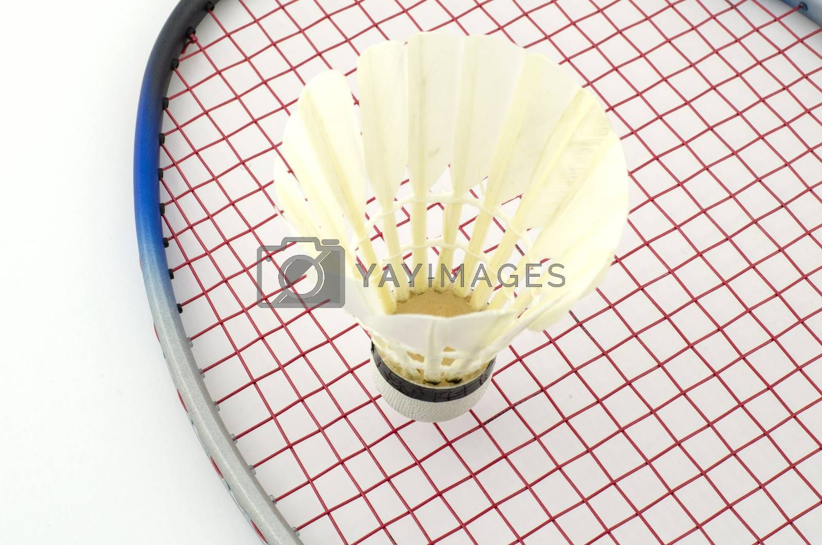 racket badminton with shuttle cock isolated on white background