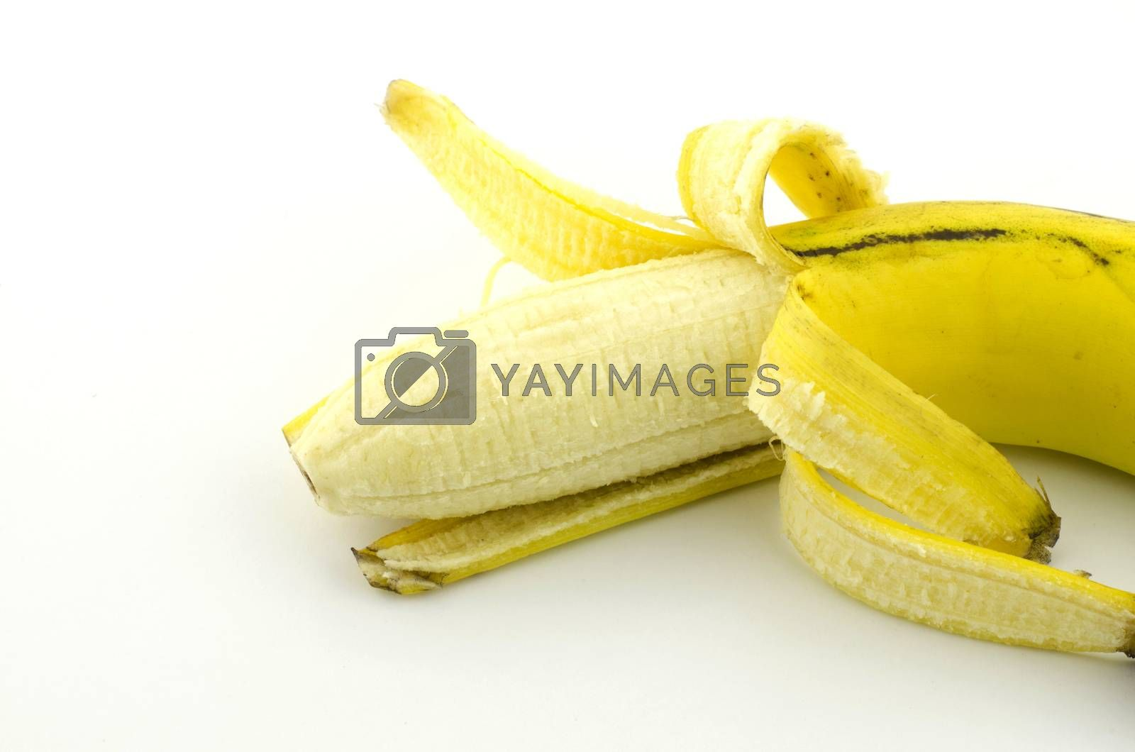 single banana isolate with white background