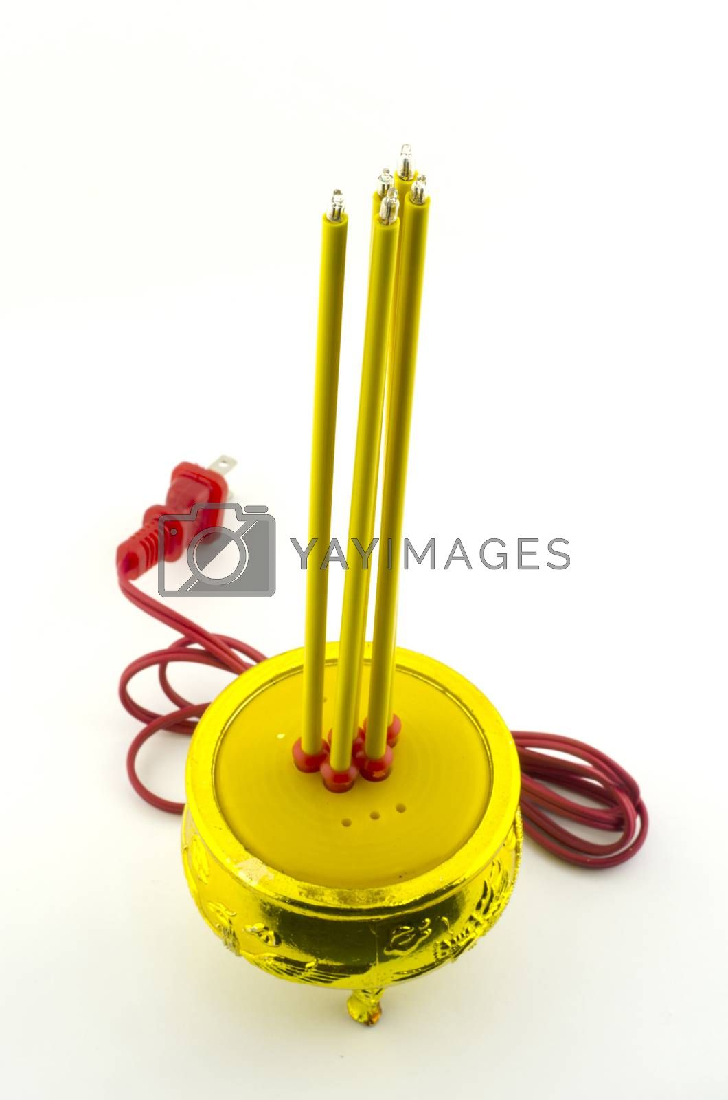 Electricity Incense burner isolated with white background