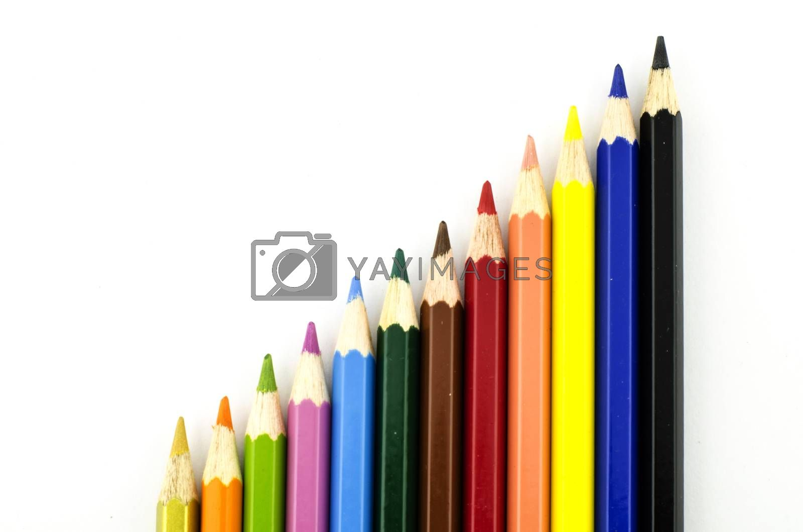 graph colorful pencil isolate with white background