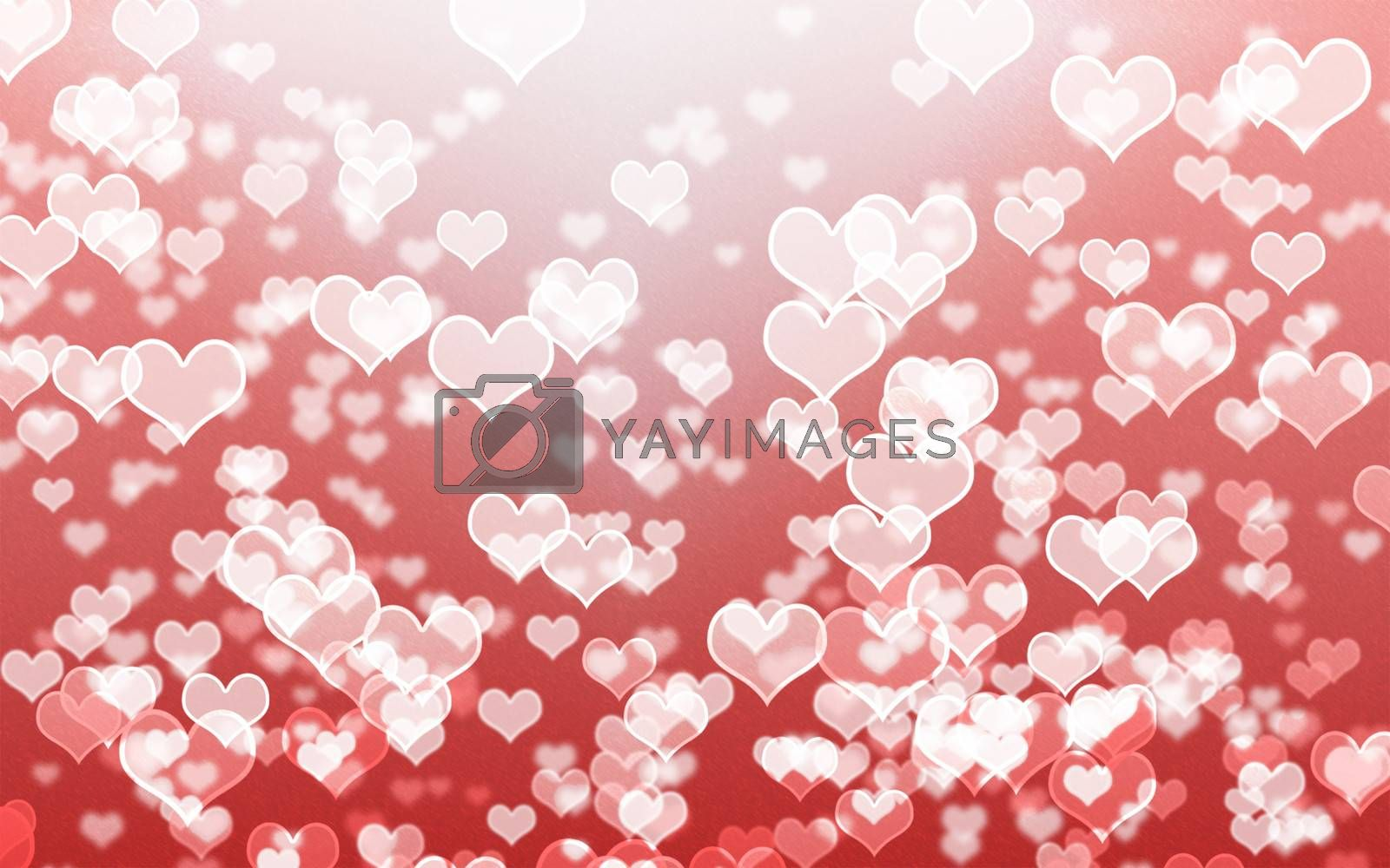 white heart bokeh on red background