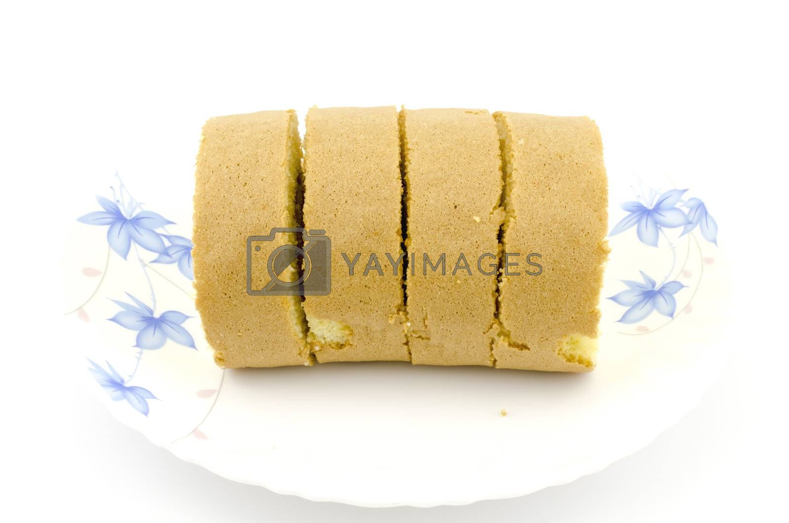jam roll isolated on white background