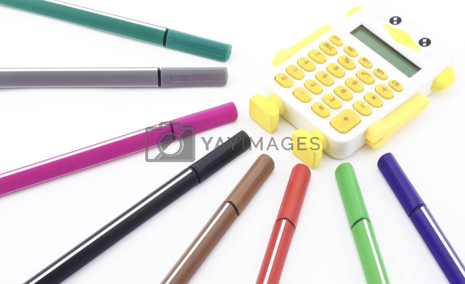 colorful pen with calculator isolated on white background