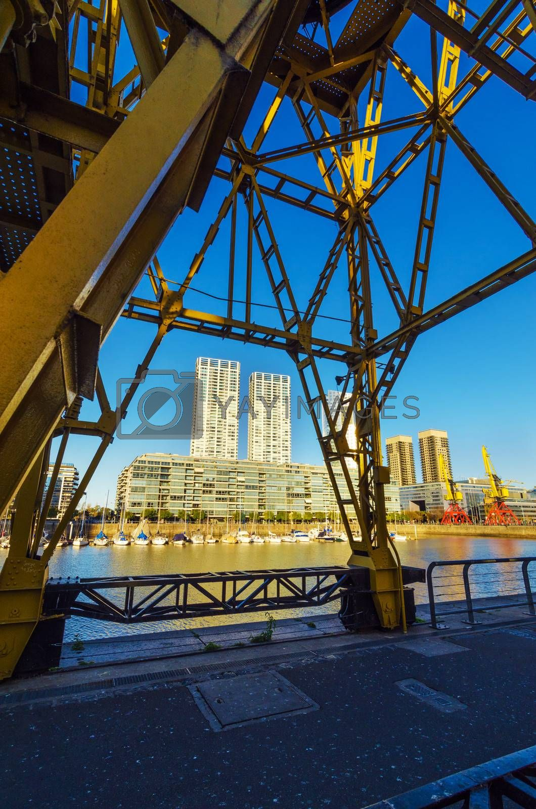 View of Puerto Madero skyscrapers as seen from under a crane in Buenos Aires