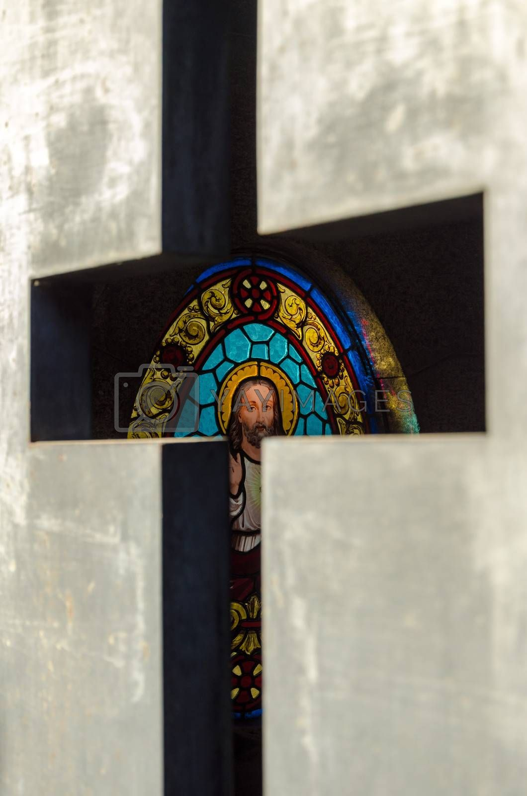 Colorful stained glass decorating a tomb in Recoleta Cemetery in Buenos Aires