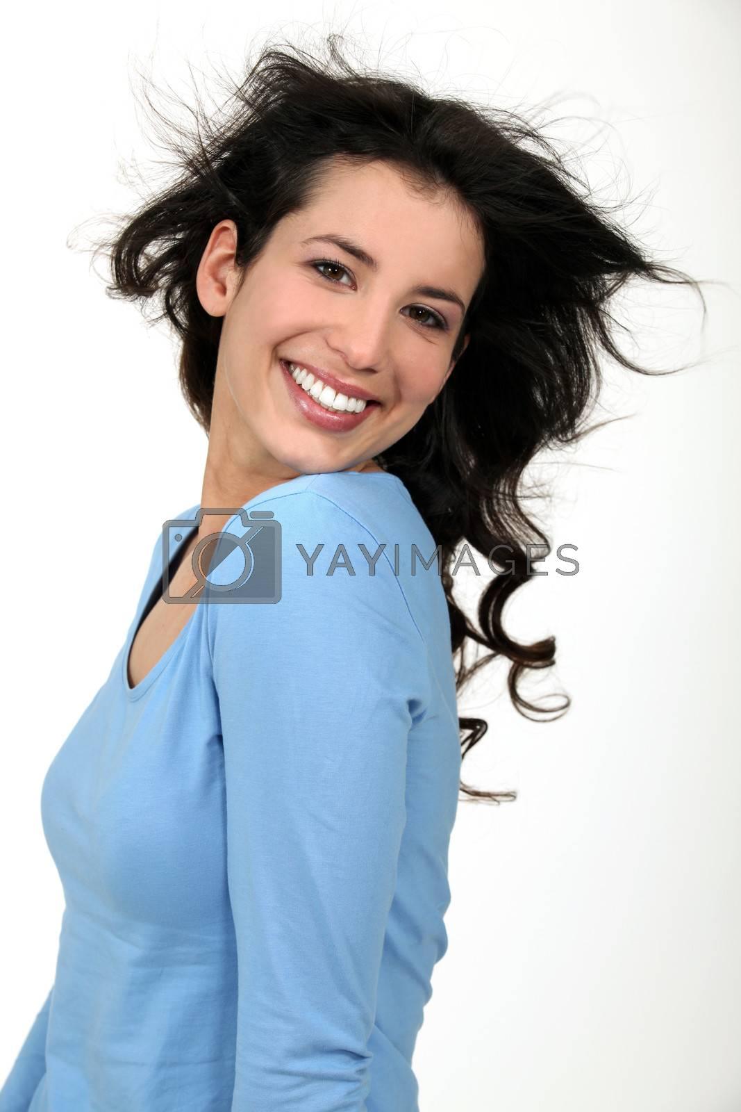 portrait of splendid brunette all smiles