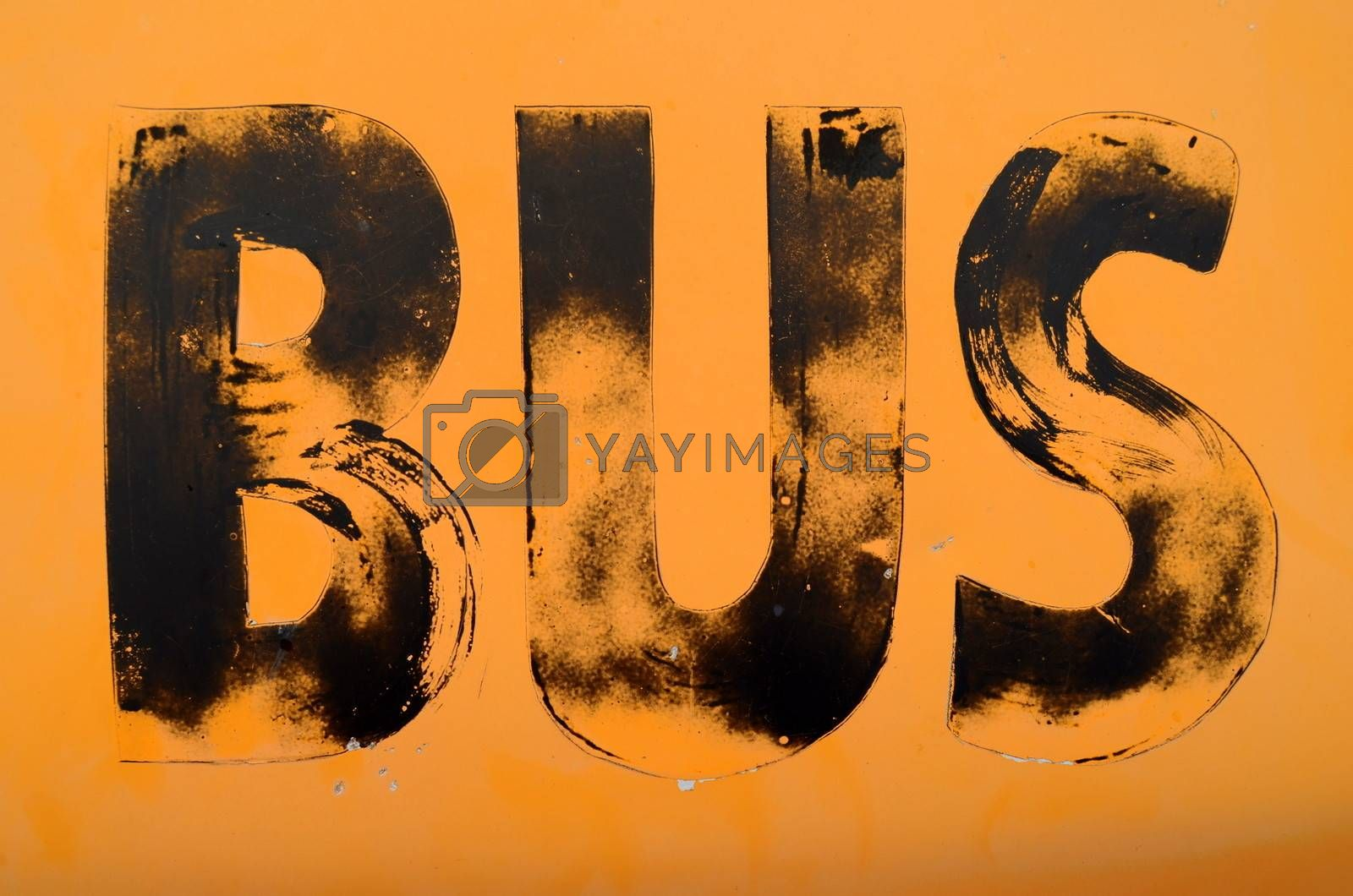 Urban Decay Image Of A Grungy Public Transport Sign For A School Bus