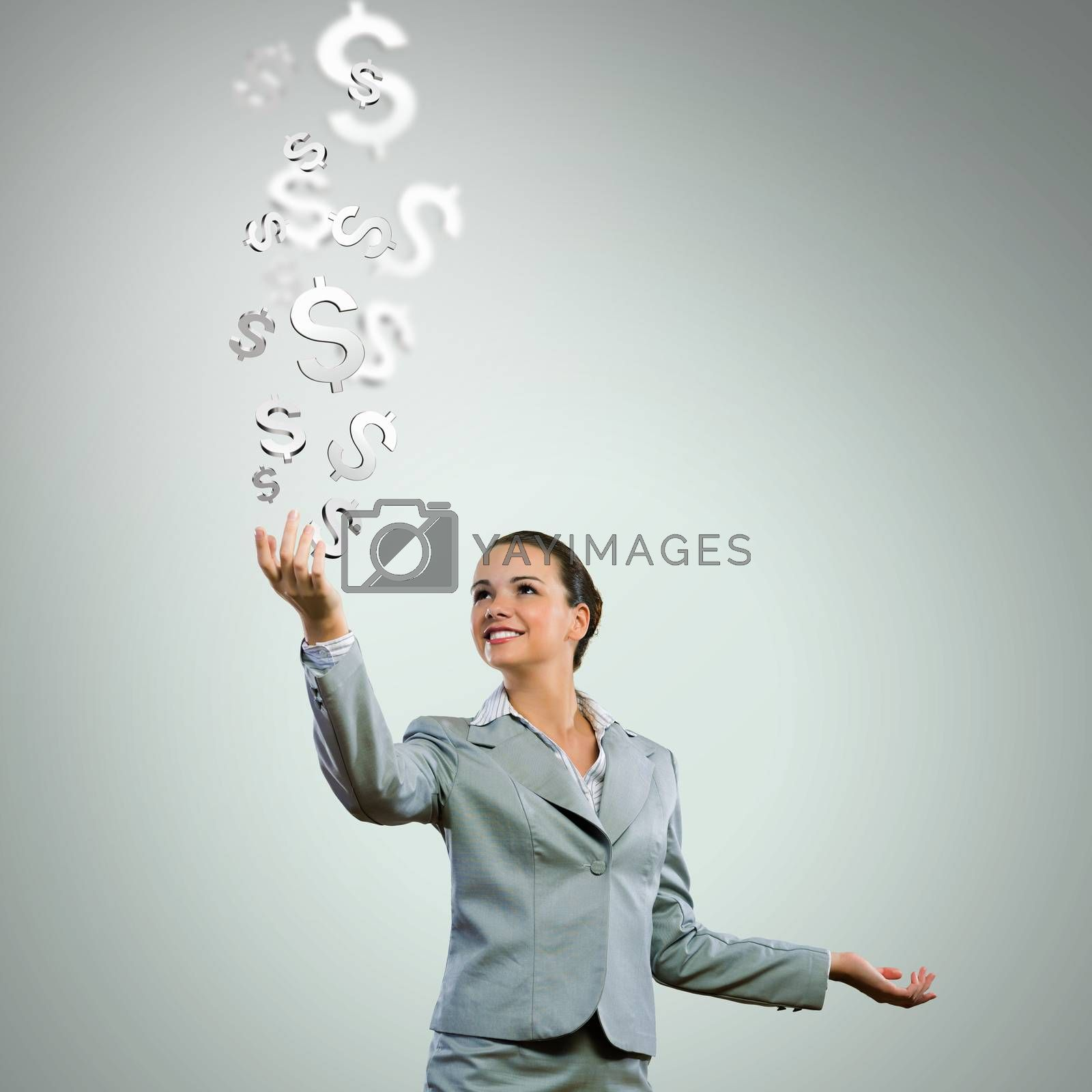 Image of young happy businesswoman. Currency concept