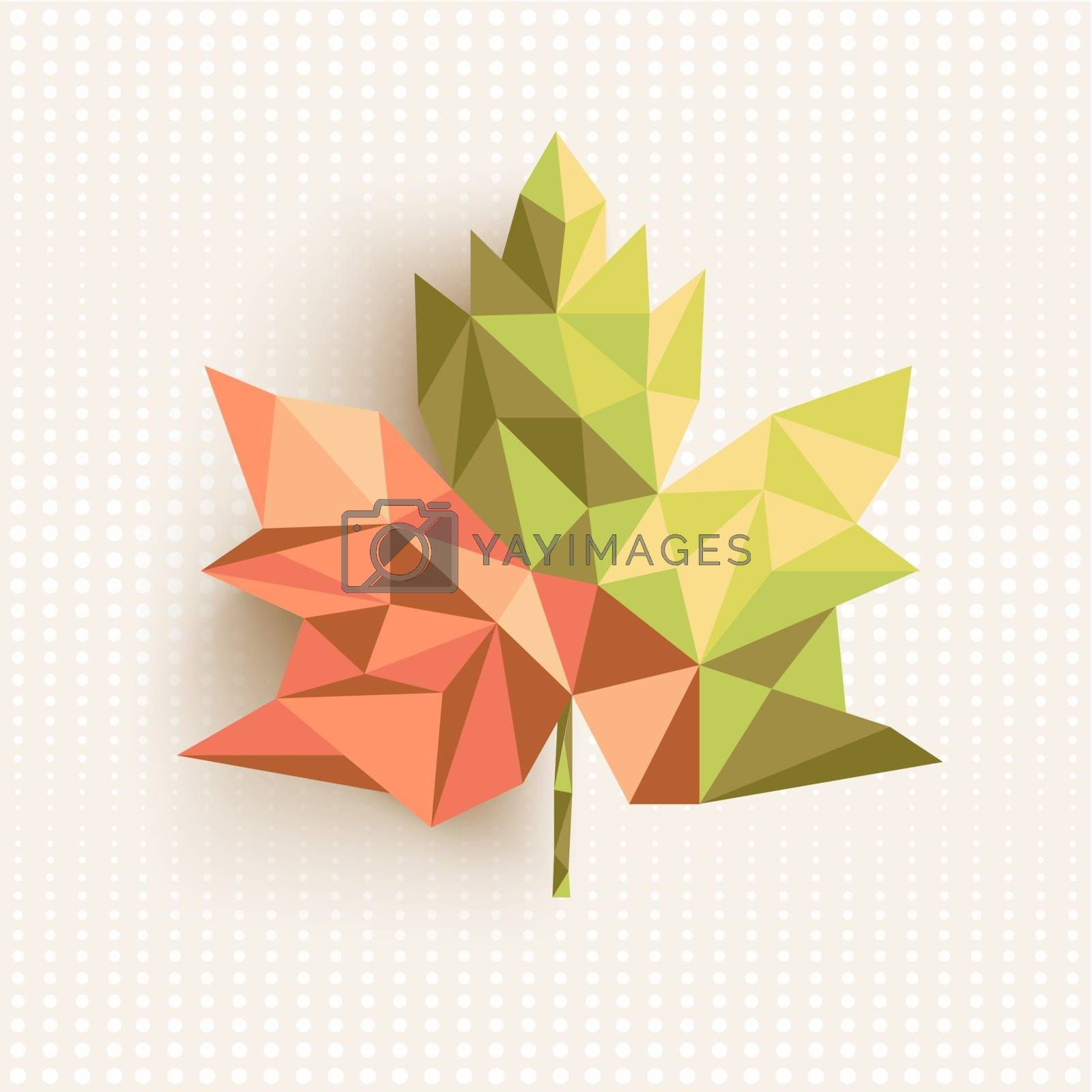 Trendy 3d geometric fall leaf composition illustration. EPS10 vector file organized in layers for easy editing.