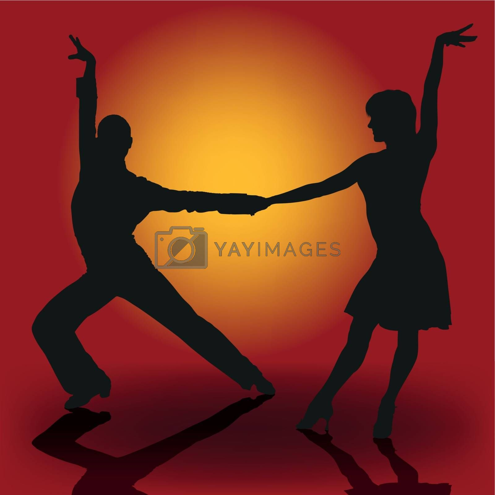Latino Dancers - Colored Illustration With Dancing Silhouettes, Vector