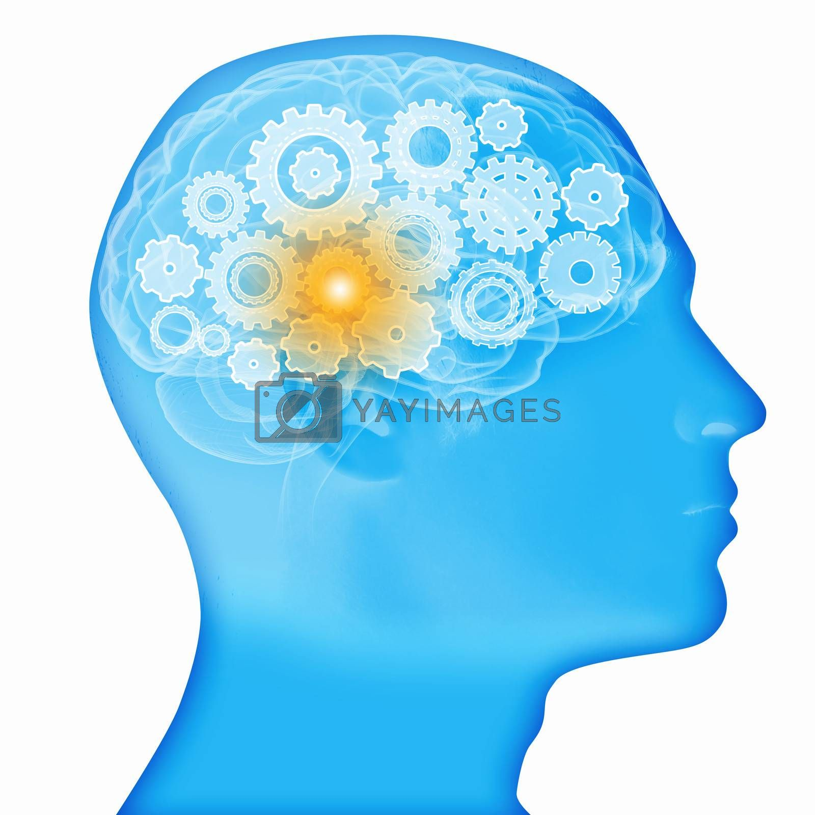 Human head silhouette with gears and cog wheel elements against white background