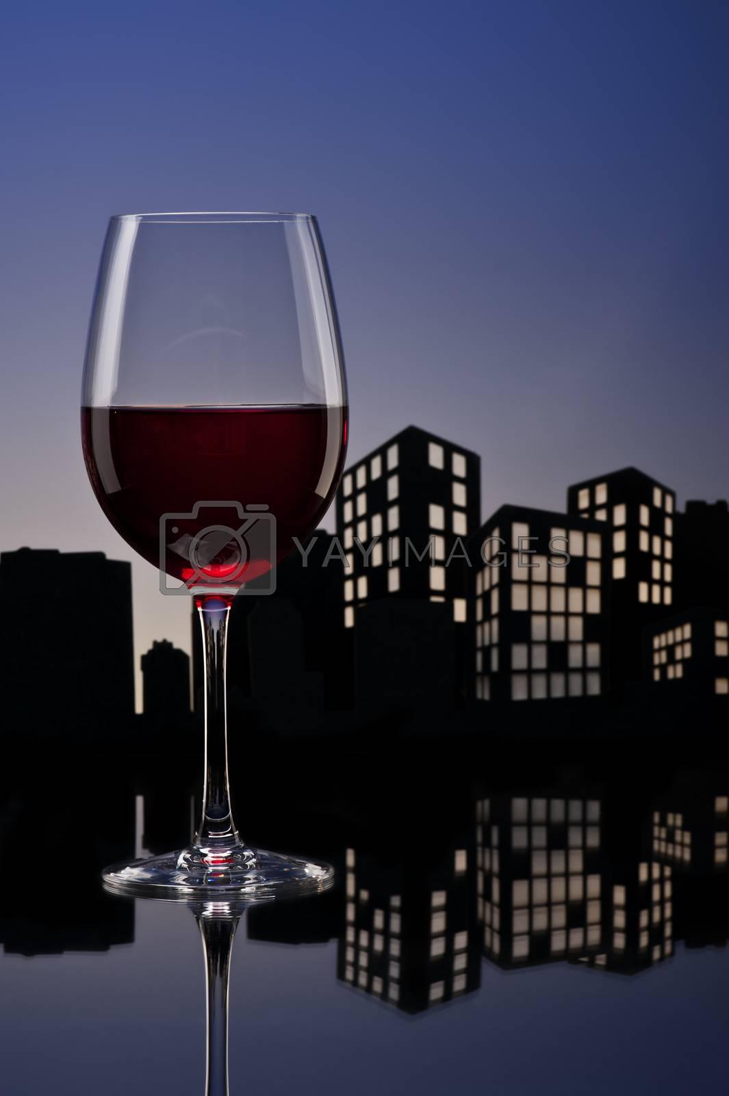Metropolis Red Wine in city skyline setting