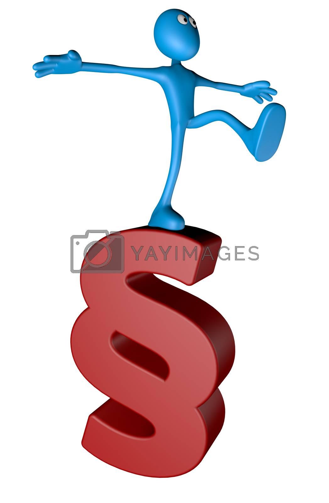 blue guy on paragraph symbol - 3d illustration