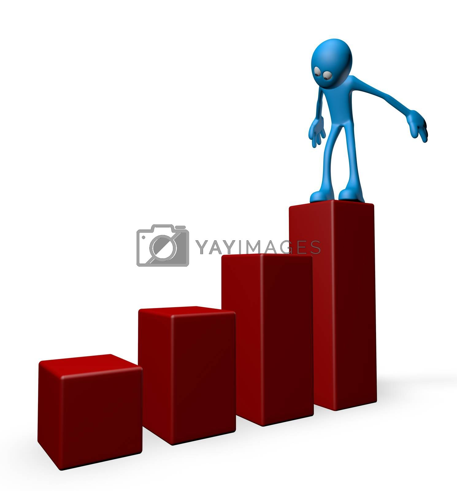 blue guy and business graph - 3d illustration