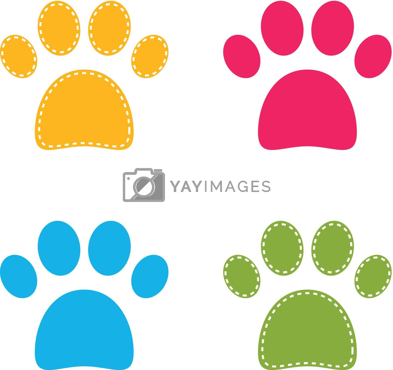 Royalty free image of Cute colorful Doggie Paws isolated on white by Lordalea