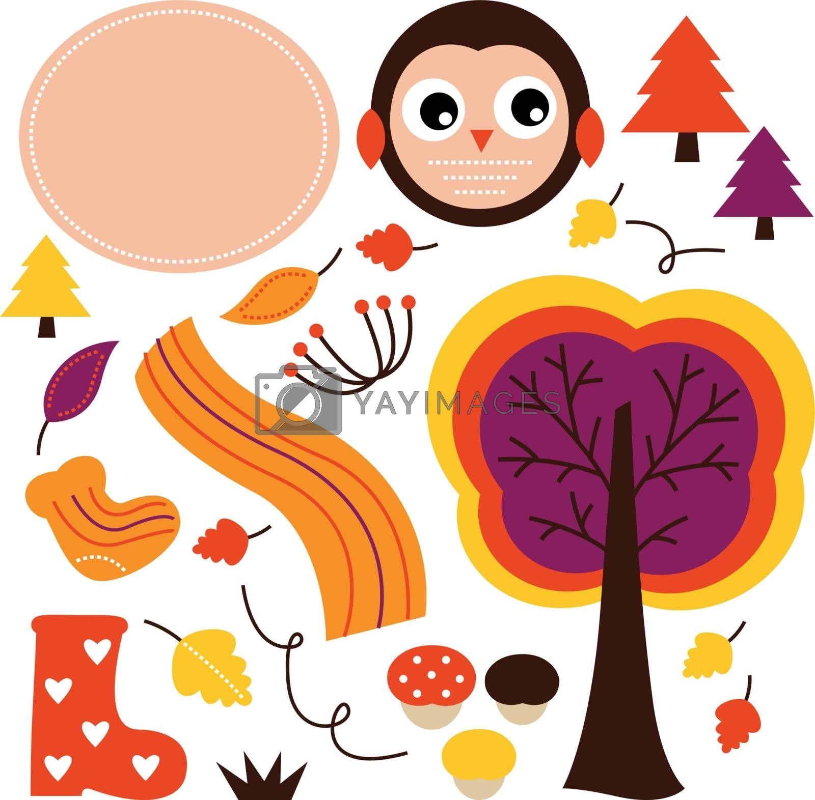 Beautiful colorful Autumn design elements. Vector Illustration