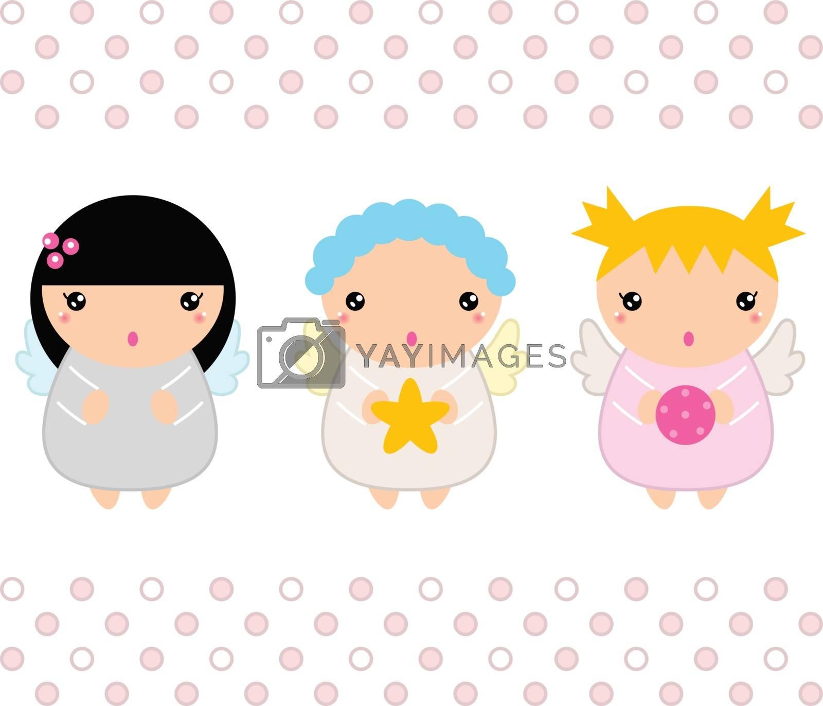 Cute Christmas Kawaii Angels. Vector Illustration