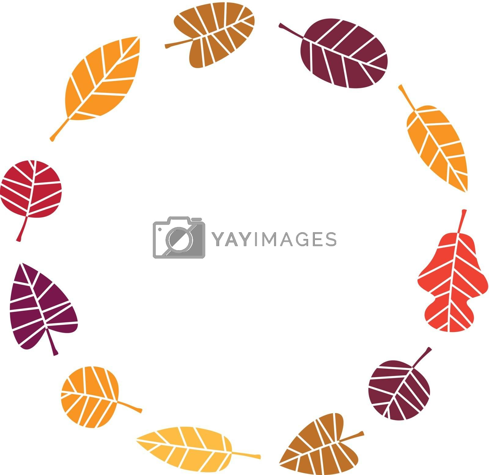 Royalty free image of Wreath with colorful Autumn leaves isolated on white by Lordalea
