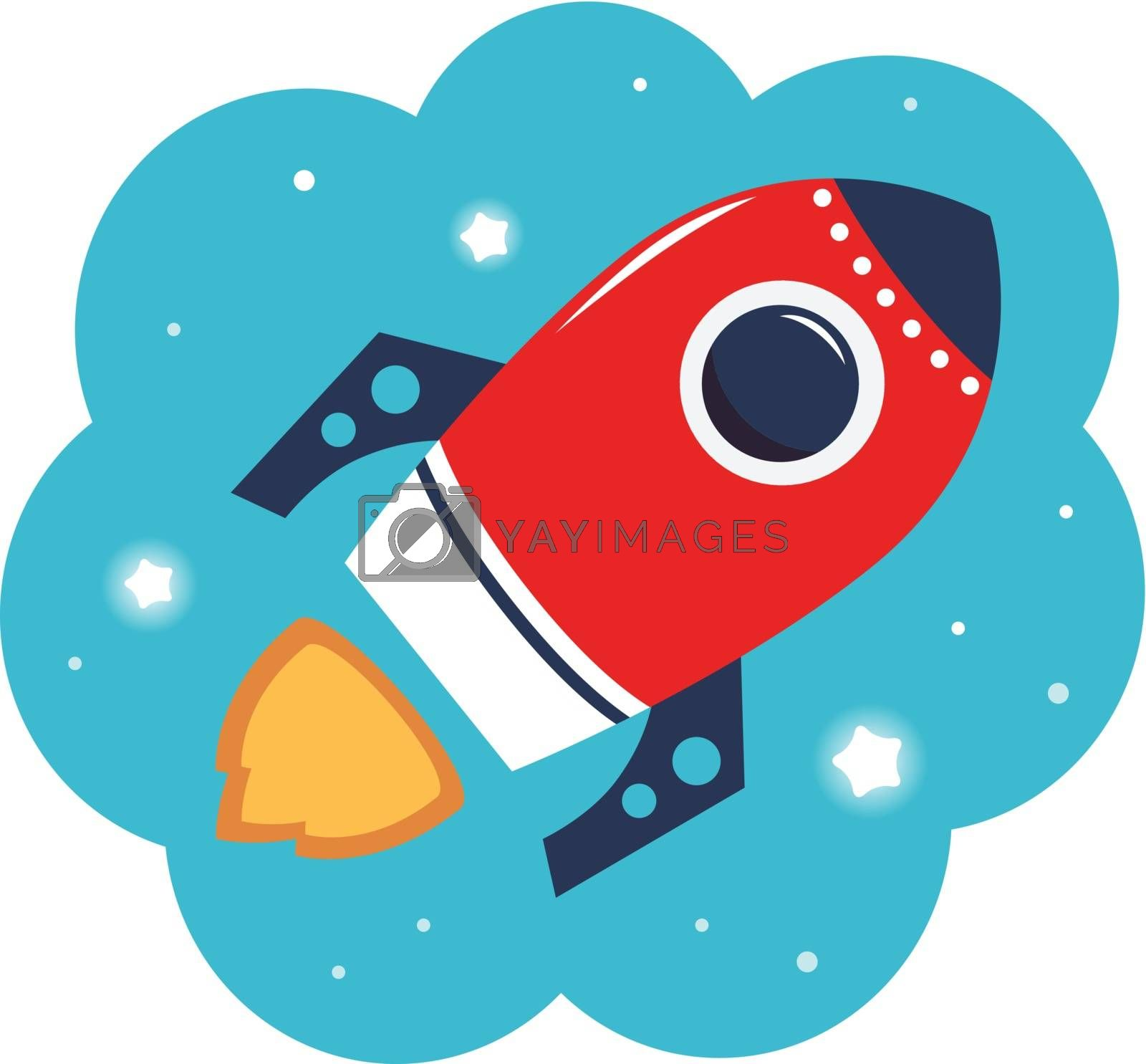 Spaceship or Rocket in cloud. Vector Illustration