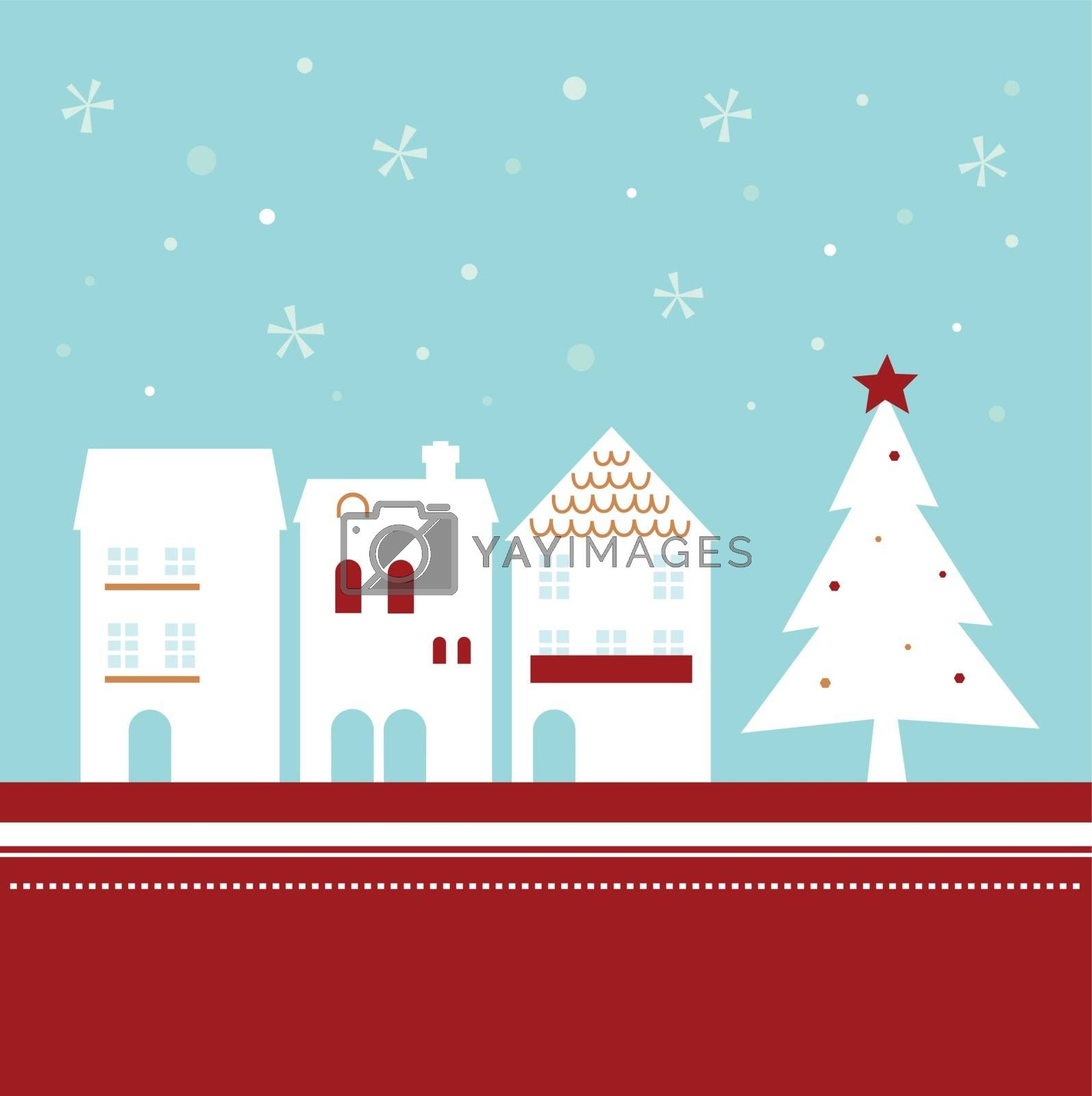 Winter christmas town with falling snow. Vector Illustration