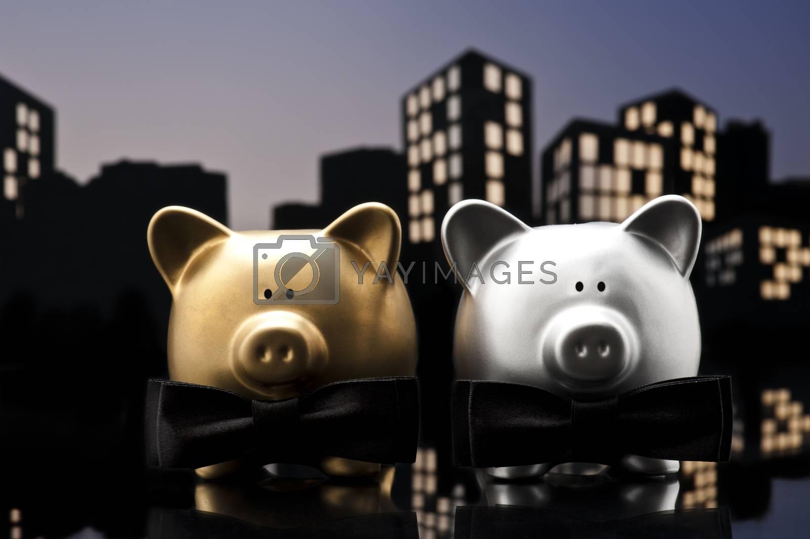 Metropolis City gay piggy bank civil union a close up