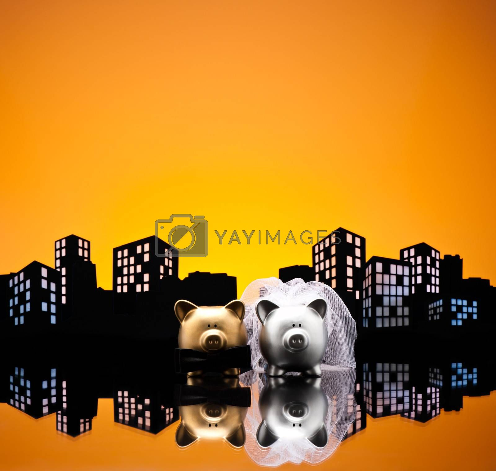 Metropolis City pig wedding the piggy bank with veil and bow tie