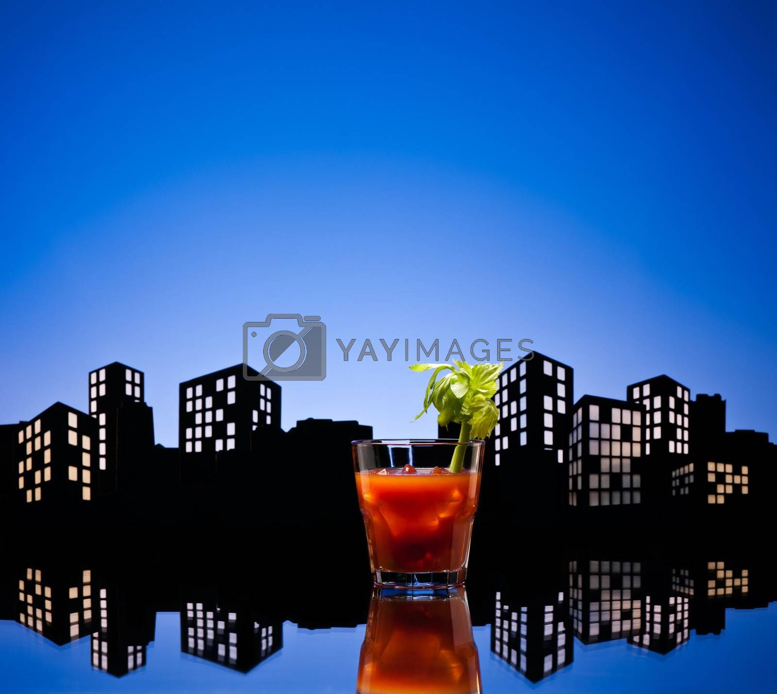 Metropolis Bloody Mary cocktail in city skyline setting