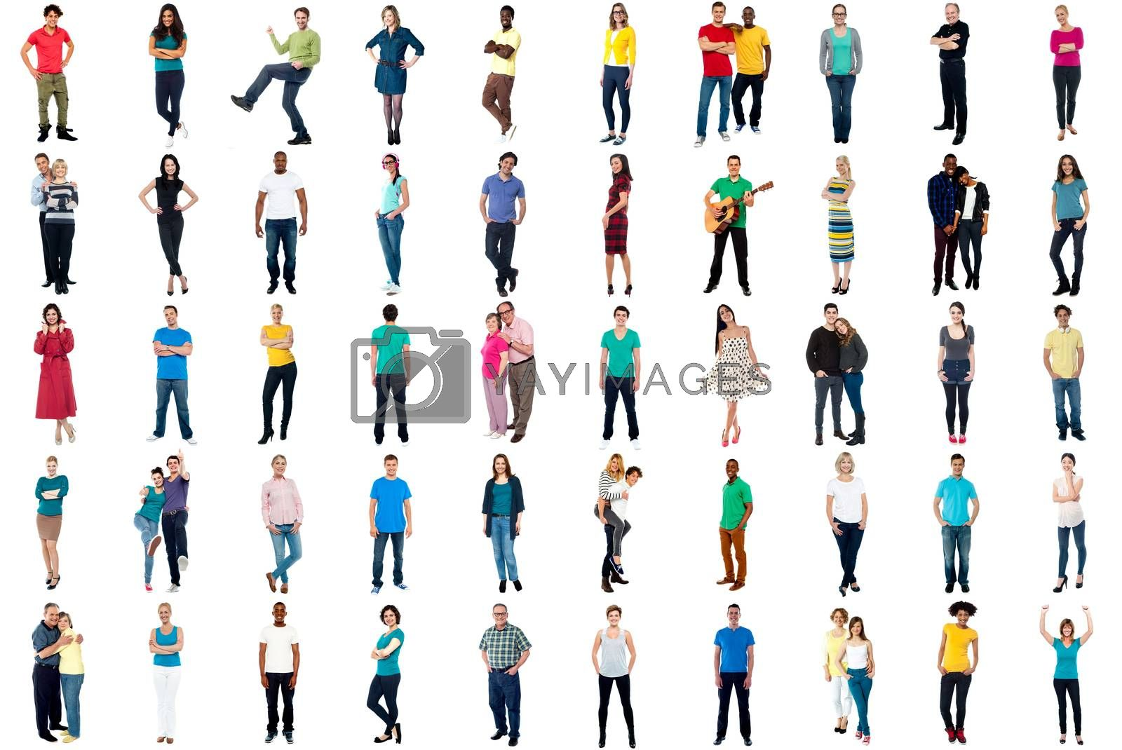 Set of trendy people isolated on white background