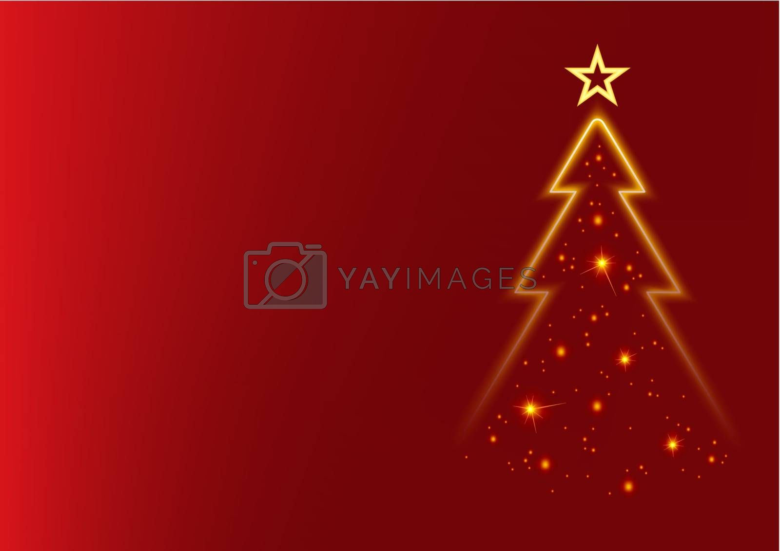 Abstract Christmas Tree - Colored Background Illustration, Vector