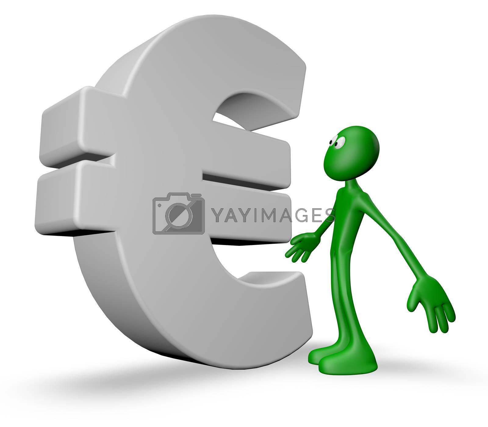 green guy and euro symbol - 3d illustration