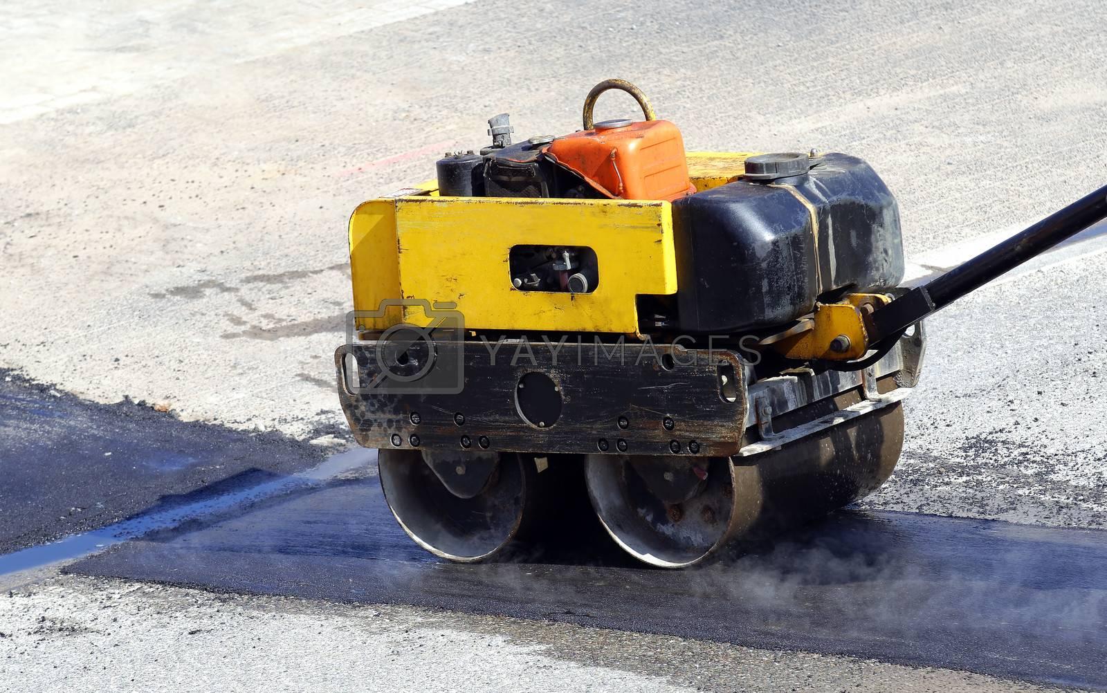 steam roller at work