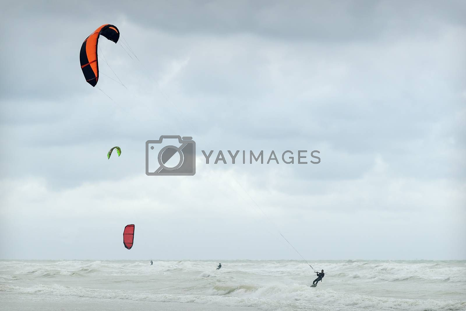 kitsurfing by stormy weather