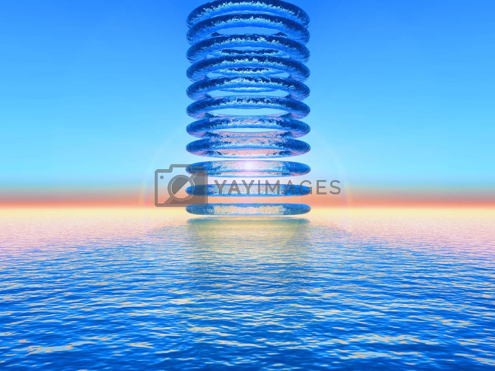 circles of water skyward