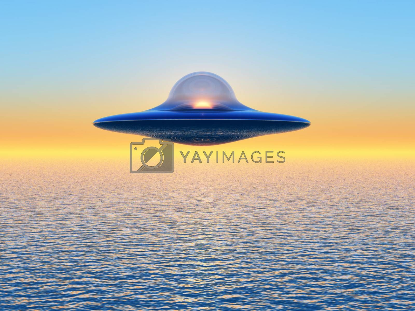 a flying saucer on sunset background