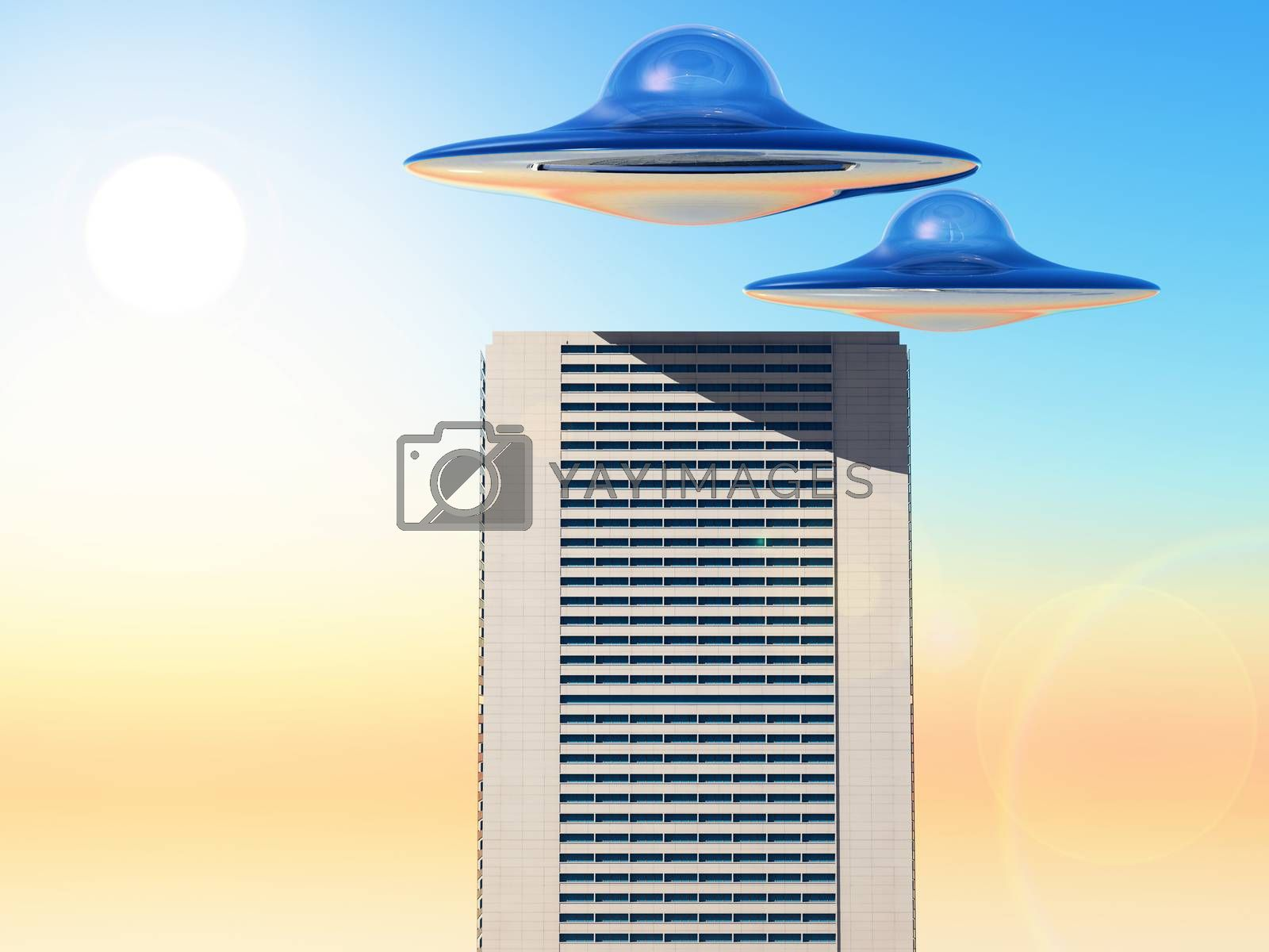 science fiction illustration,ufo over a city tower