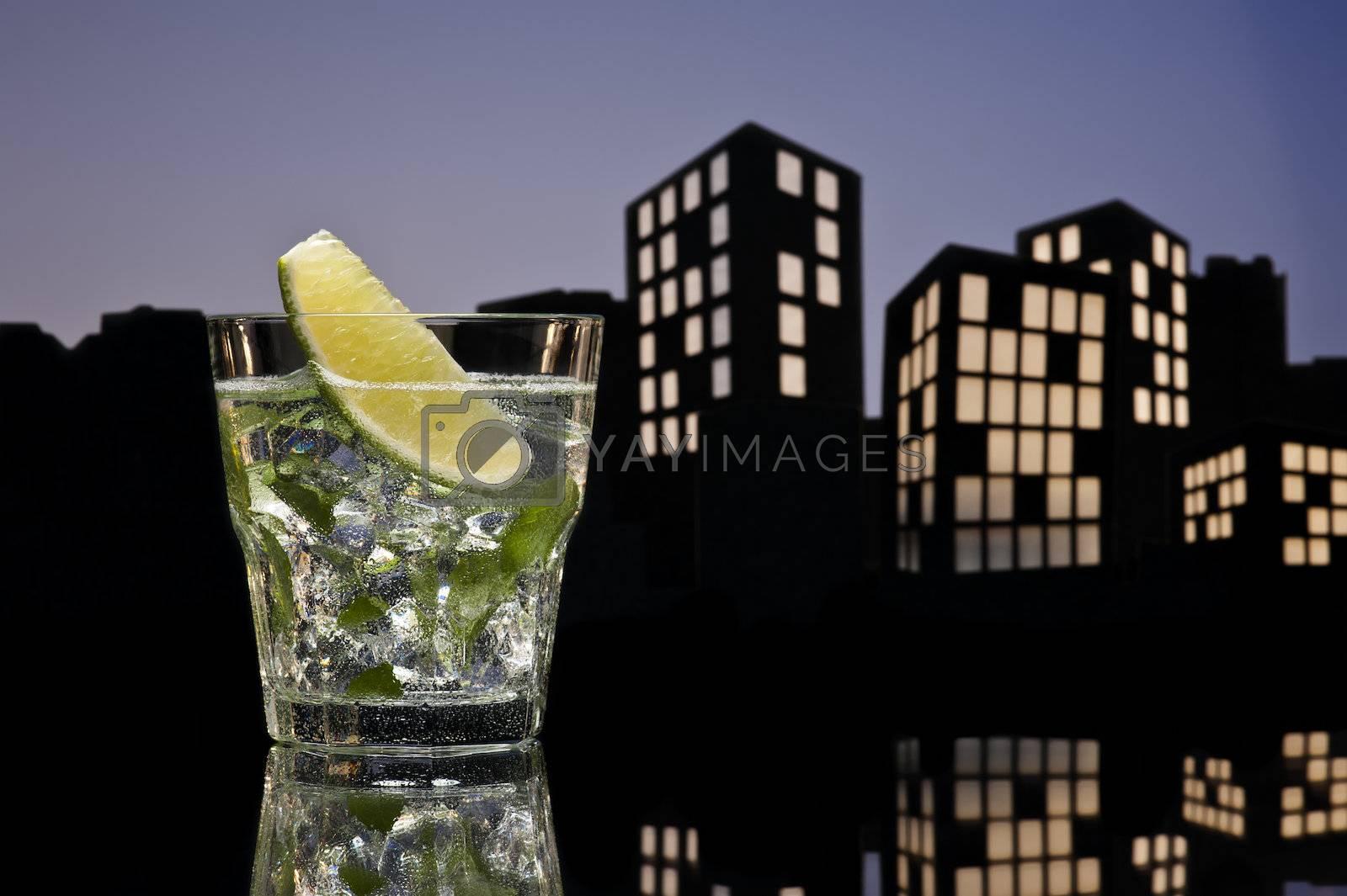 Metropolis Mojito cocktail in city skyline setting
