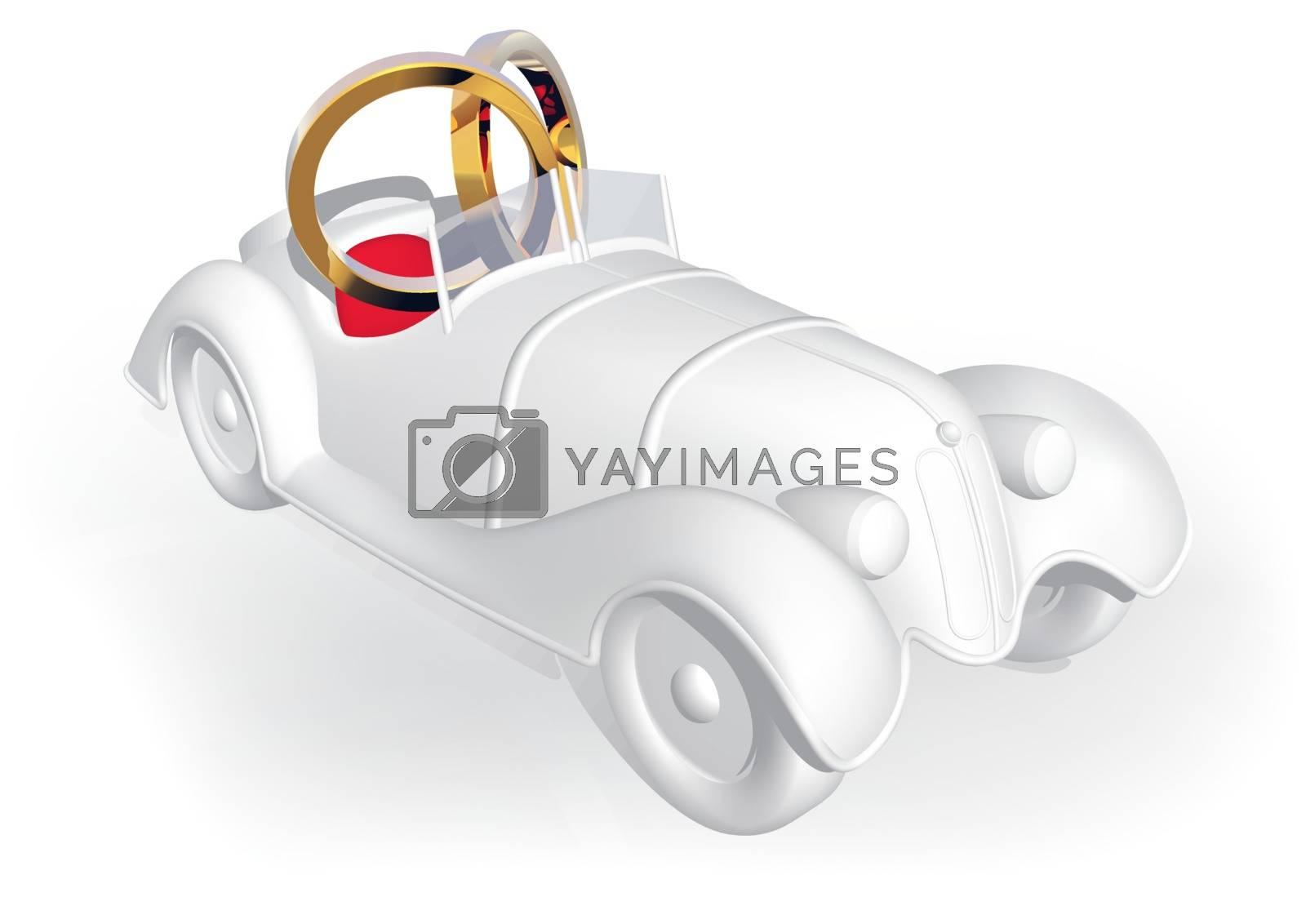 Wedding Car - Colored Illustration, Vector