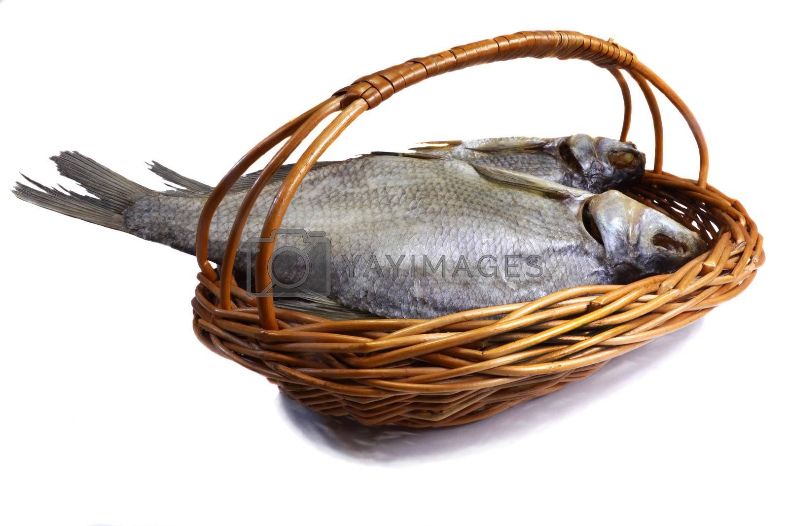 Two river fish, salted and dried . Presented on a white background.