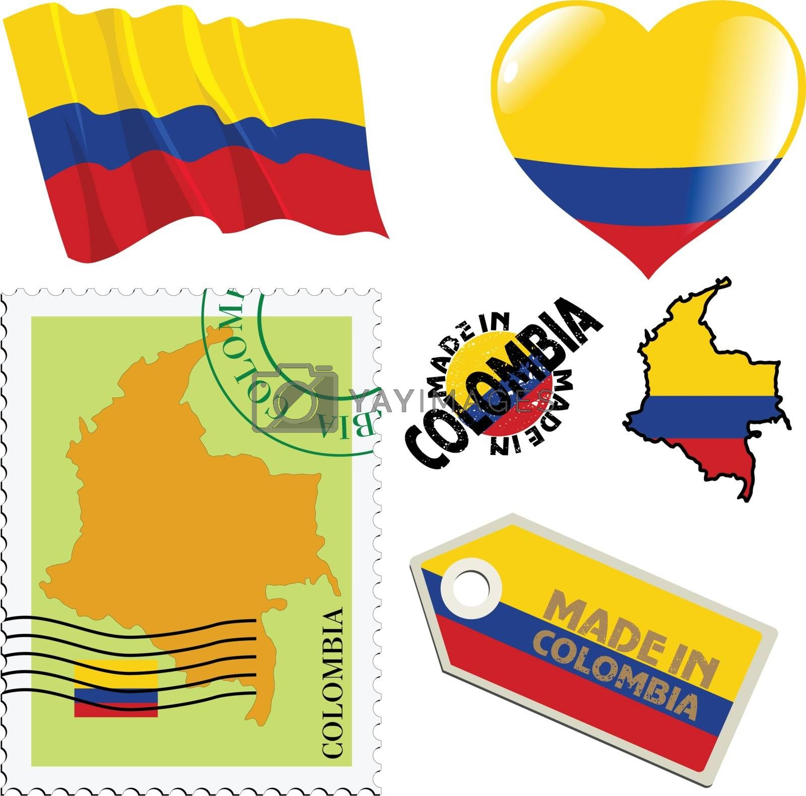 set of different symbols in national colours of Colombia