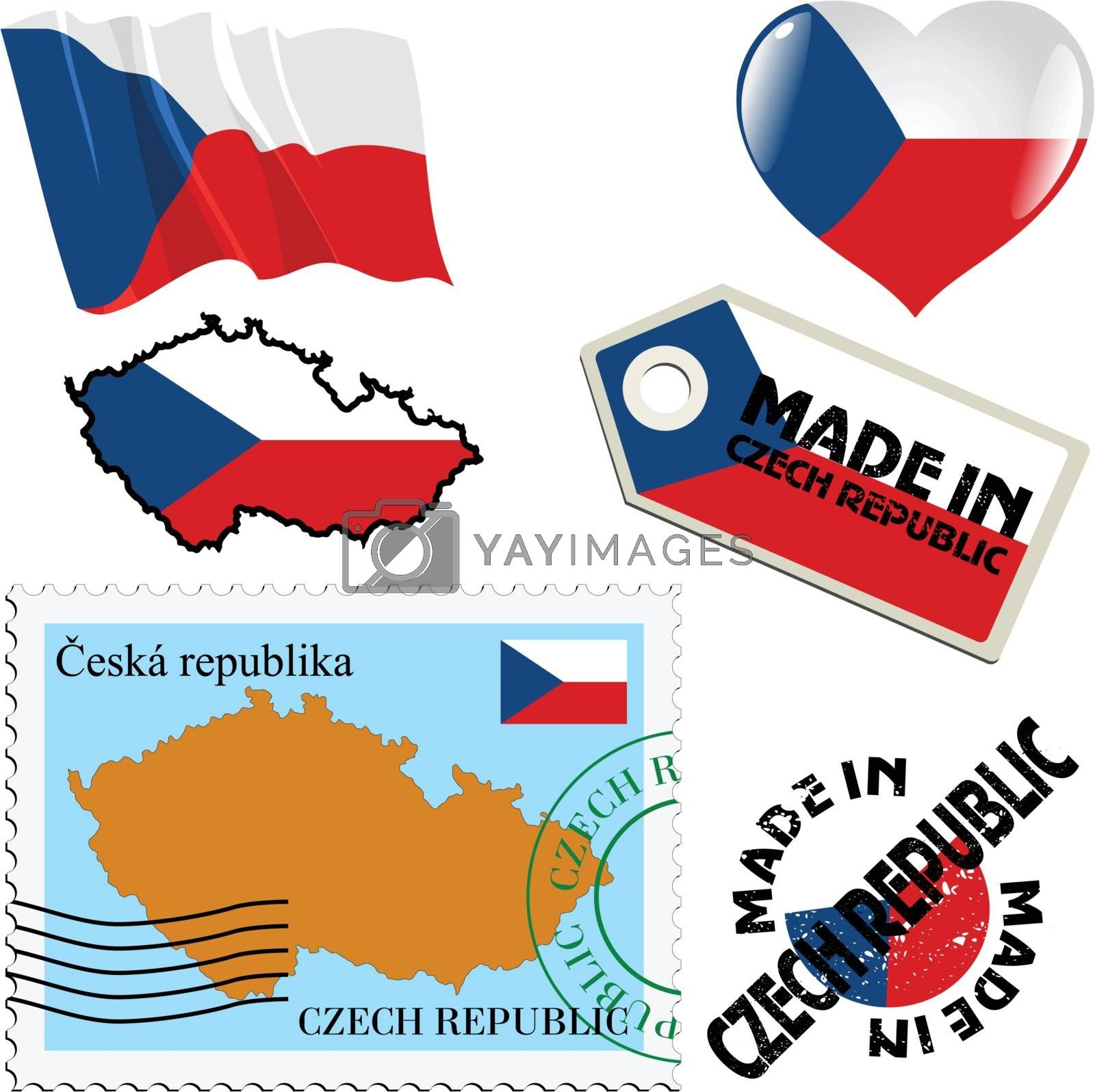 set of different symbols in national colours of Czech Republic