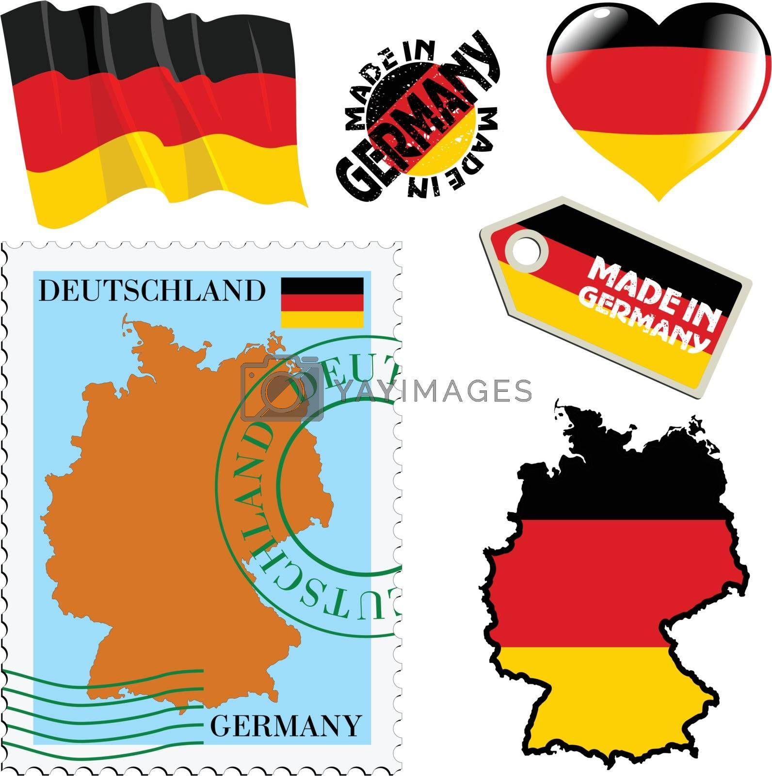set of different symbols in national colours of Germany