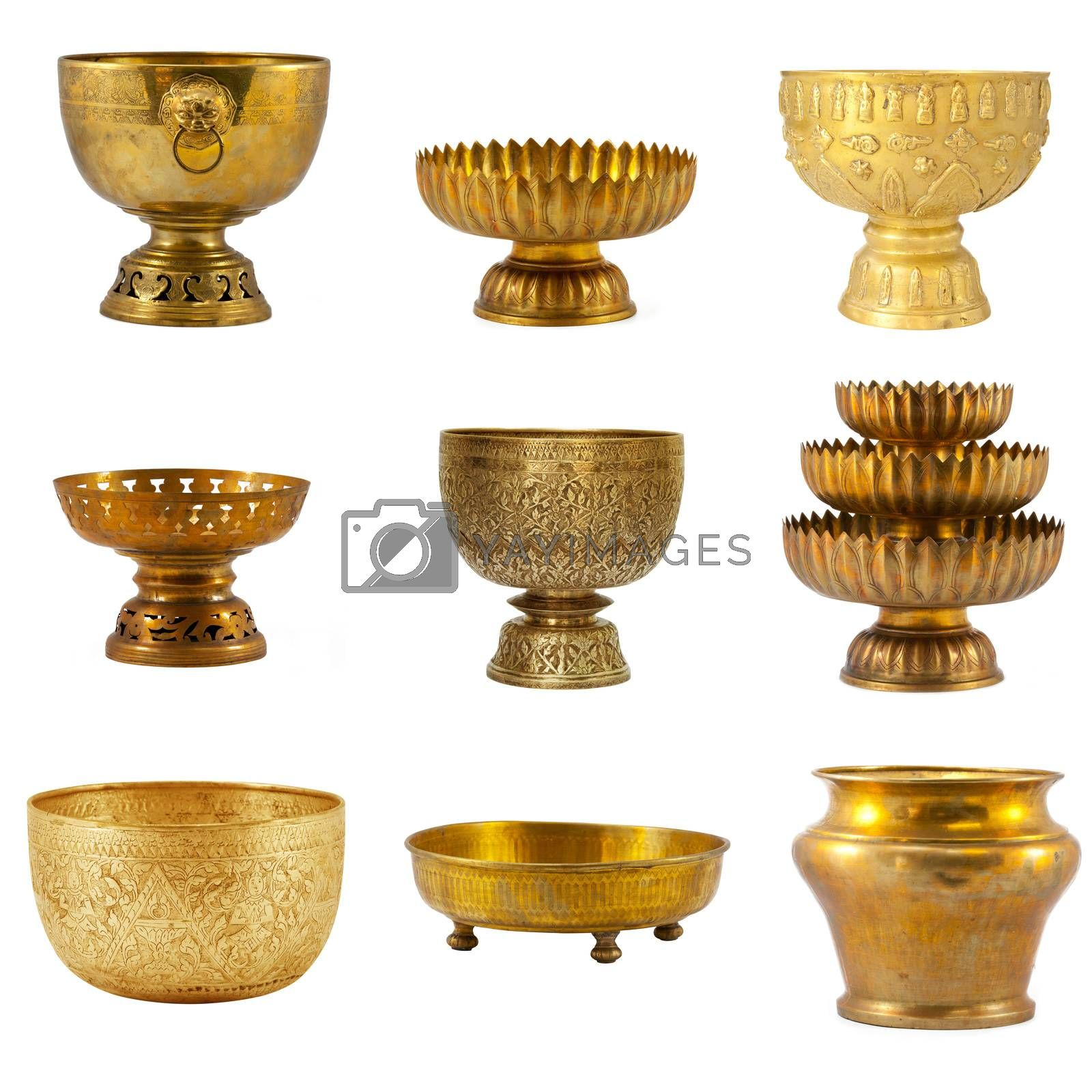 Old antique vintage bronze collection, brass bowl, isolated on white background