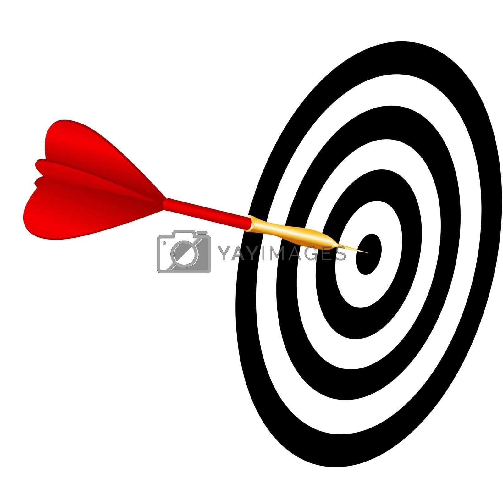 Vector dart hitting a target on white background